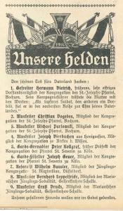 Die Wacht. Zeitschrift für katholische Jünglinge – Organ der katholischen Jugendvereine, 10. Jg., Nr. 12/13 1914/15, Anfang Oktober 1914, S. 108.