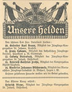 Die Wacht. Zeitschrift für katholische Jünglinge – Organ der katholischen Jugendvereine, 10. Jg., Nr. 15 1914/15, Mitte Oktober 1914, S. 112.