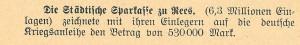 Kriegsanleihe-Zeichnung StädtSK Rees, 1.10.1914