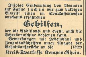 Stellenanzeige KSK Kempen, 1.9.1914