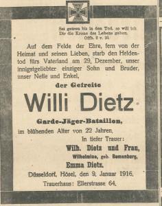 9.1.1916 Todesanzeige