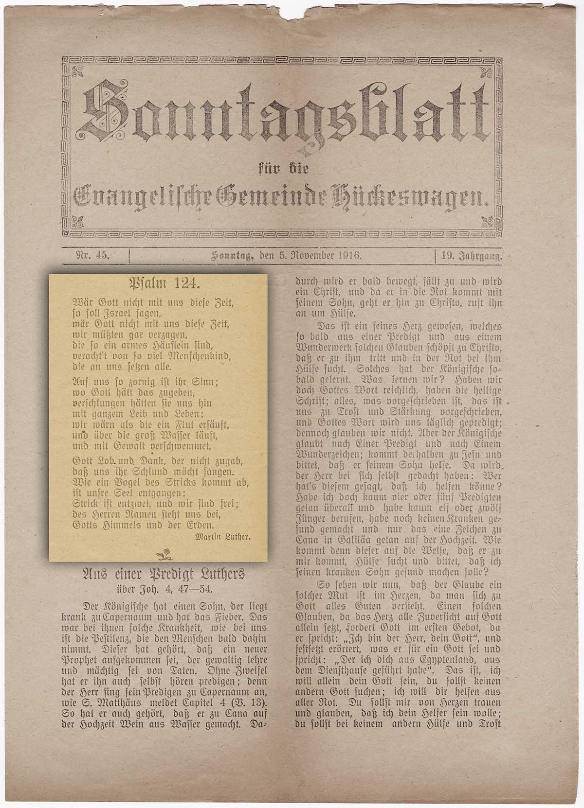 Dichtung Martin Luthers zu Psalm 124, aus Bestand : Sonntagsblatt für die Evangelische Gemeinde Hückeswagen, 5. November 1916 Nr.45, Jg.19;