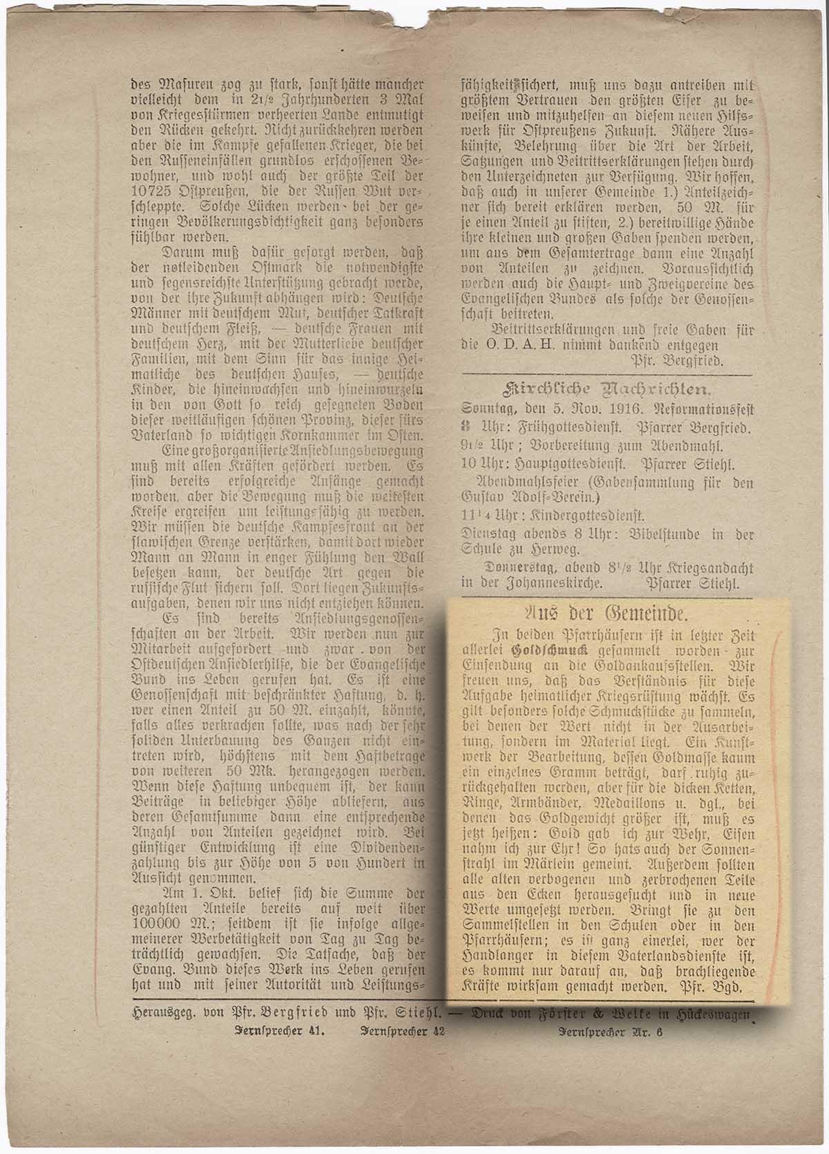 Goldankauf Gemeinde Hückeswagen, aus Bestand : AEKR Düsseldorf Bibliothek ZK 814 k Sonntagsblatt für die Evangelische Gemeinde Hückeswagen, 5. November 1916, Nr.45, Jg.19;