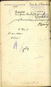 Vorderseite des Schreibens des Direktors des Landesarmenhauses in Trier