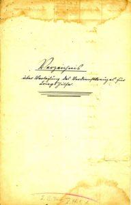 Titelblatt des Verzeichnisses