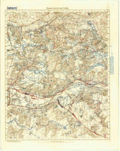 """Übersichtskarte der Stellungen in der """"Laffaux-Ecke"""", Stand Juli 1918"""