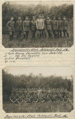 Stab des Feldartillerie-Regiments 16. Regimentskommandeur Oberstleutnant Curt von Dewitz (1), Adjutant Leutnant Eggers (2), Leutnant Wendler (3) und Leutnant der Reserve Felix Poensgen (4)