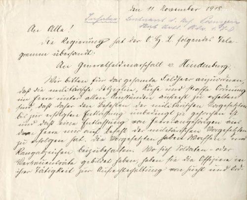 Aufruf des Rates der Volksbeauftragten zur Aufrechterhaltung der militärischen Disziplin, 11. November 1918